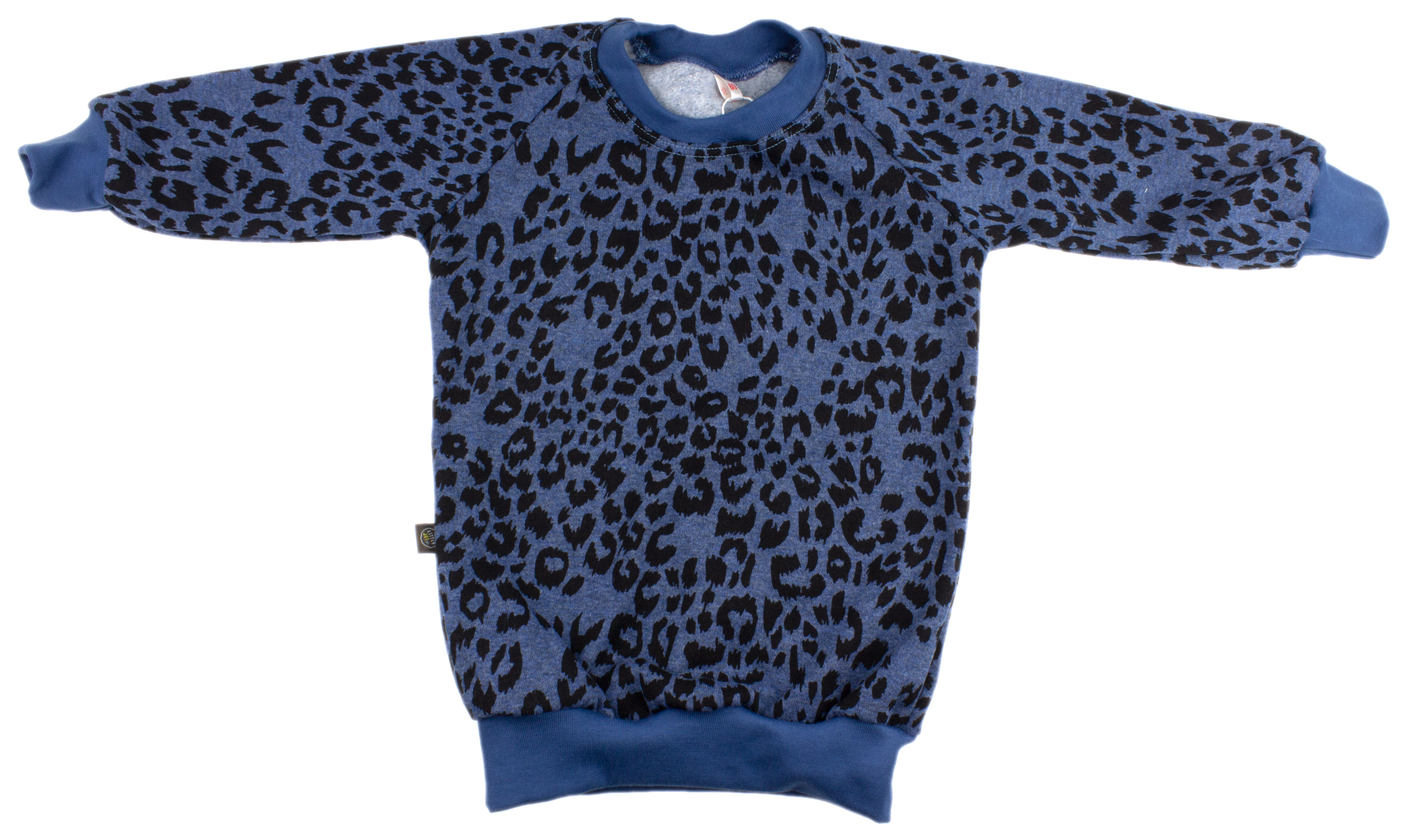 Trui Met Panterprint.Little Jet Sweater Jeansblauw Met Panterprint
