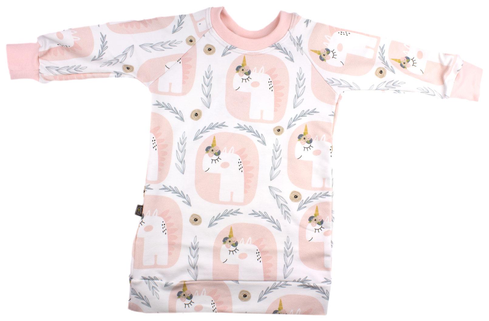 wit met eenhoorns (sweaterdress)