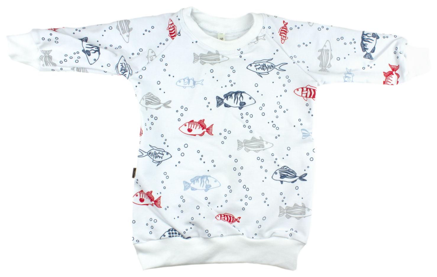 wit met rode en blauwe visjes