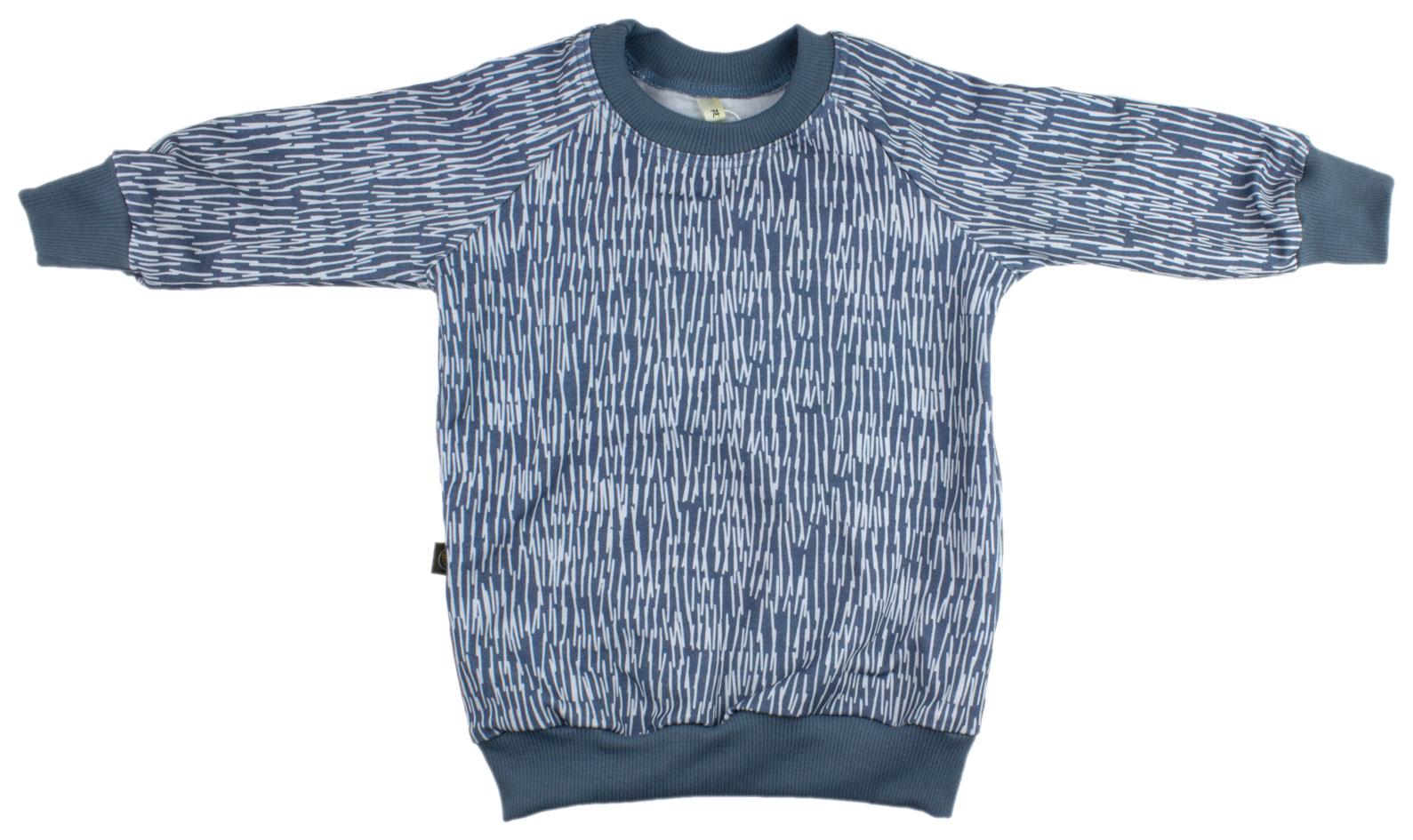 blauw met kleine witte streepjes (sweater)