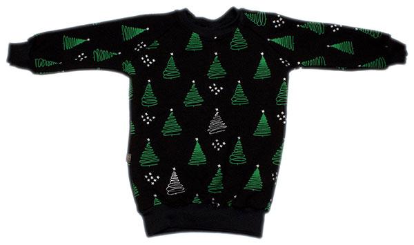 zwart met groene en zilveren kerstbomen