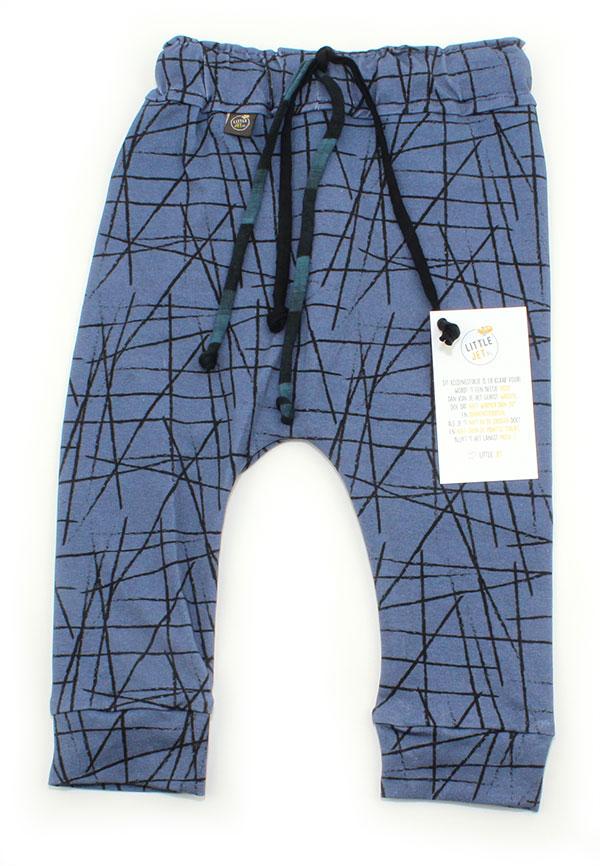 jeansblauw met kriskras strepen