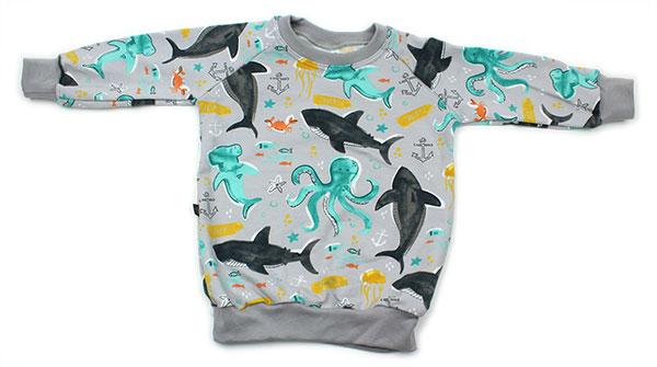 grijs met haaien en inktvissen