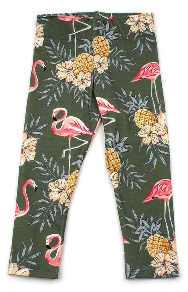 groen met flamingo