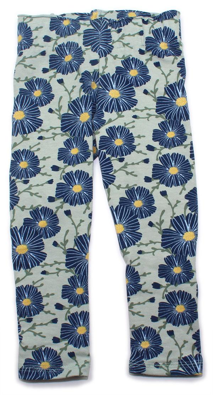 mintgroen met blauwe bloemen