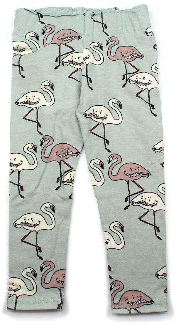 mintgroen met flamingo